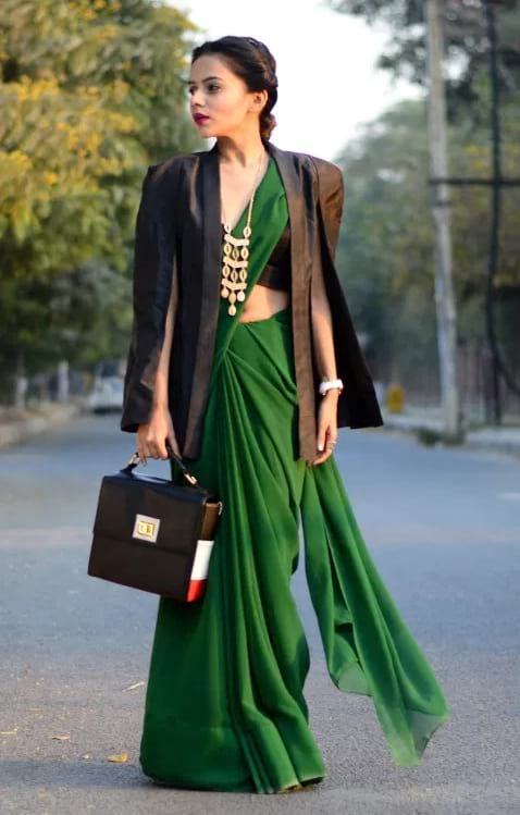 create the fusion like fashion pro by pairing saree with cape sleeve blazer