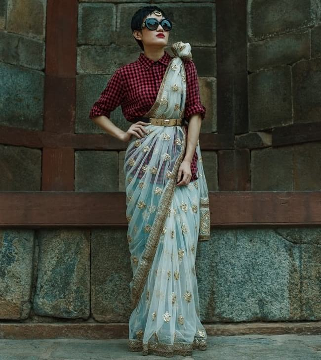 create the fusion like fashion pro by pairing saree with checkered shirt and belt