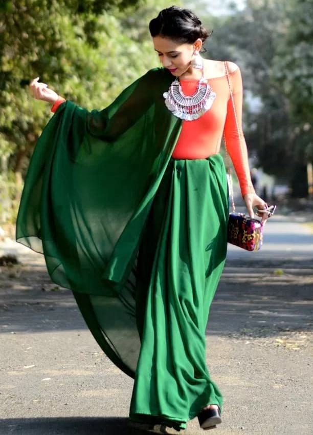 create the fusion like fashion pro by pairing saree with off-shoulder top or bodysuit