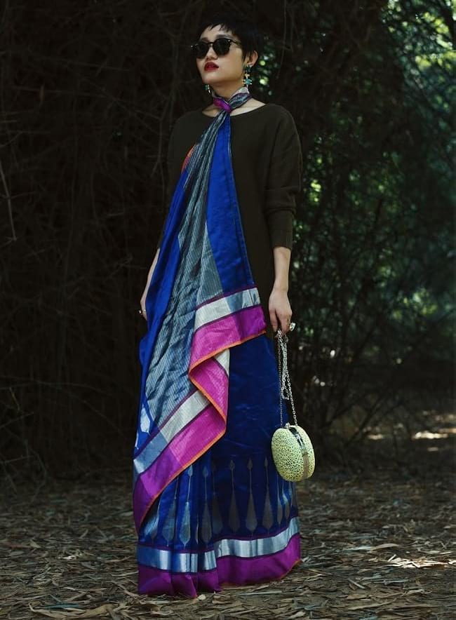 create the fusion like fashion pro by pairing saree with pullover