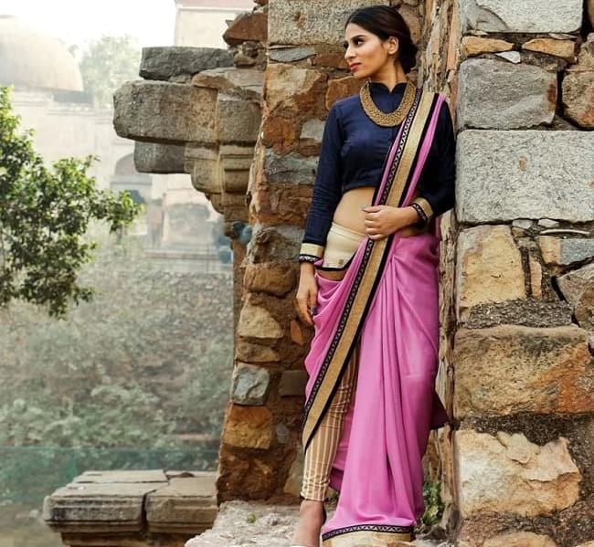 create the fusion like fashion pro by pairing saree with trouser