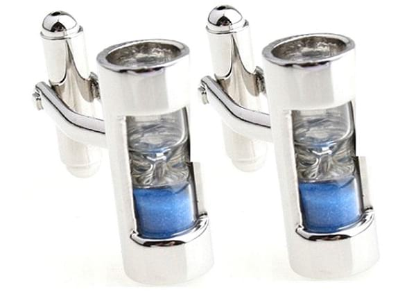 Sorella'z Sand Timer Hourglass Cufflinks with Silver Tone & Blue Steampunk