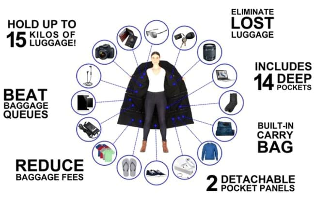 the airport jacket that can carry your luggage, built-in- carry bag