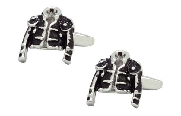 The Tie Hub Black & Silver-Toned Cufflinks in Jacket Style