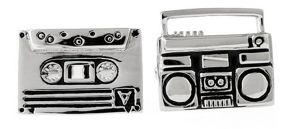 Topen Boom Box Brass Cufflinks with Silver Tone