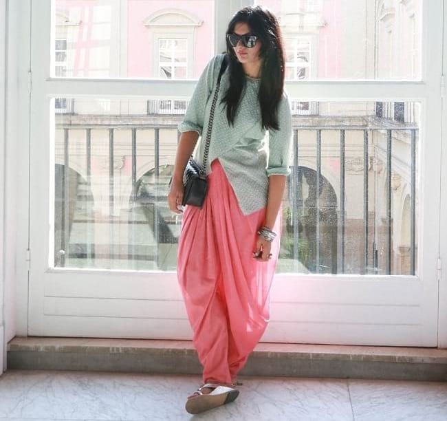 create the fusion like fashion pro by pairing tulip top with dhoti pants