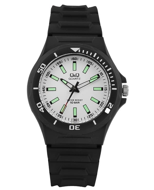 white dial glow in the dark analogue watch