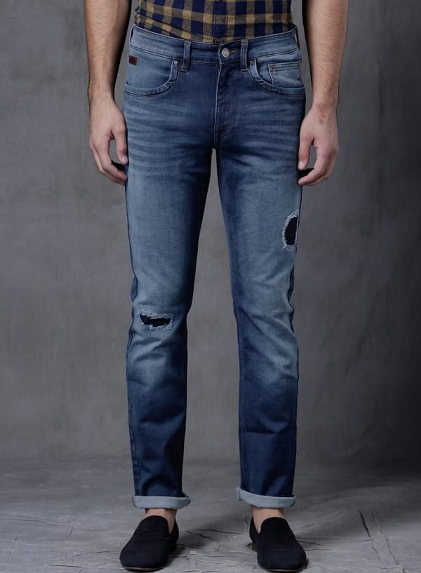 wrogn blue washed low rise slim fit jeans