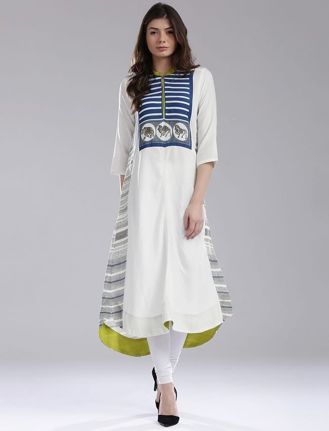 W for Woman White A-Line Kurta with Button & Loop Closure to wear in office for summer
