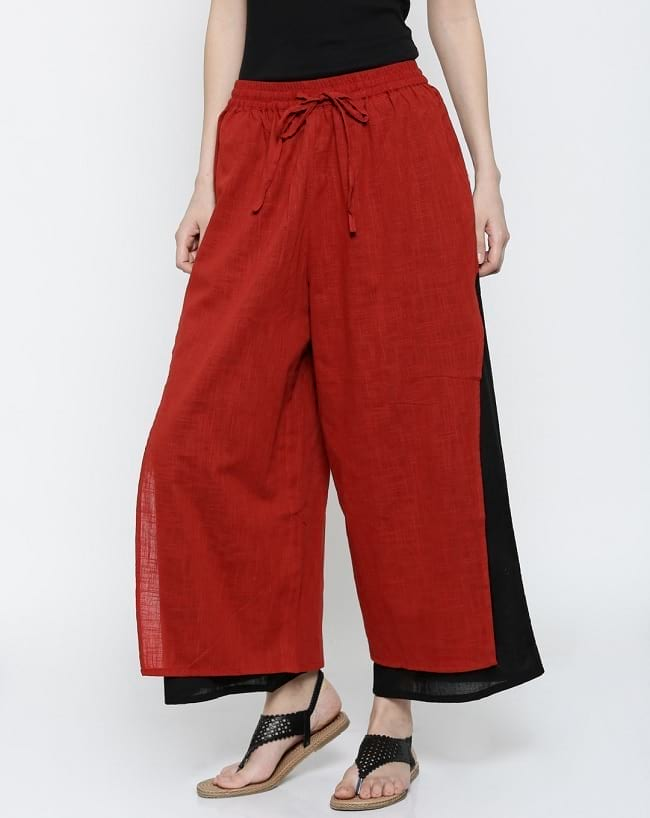 women's palazzo types, palazzo with layer, types of shoes to wear with palazzo pants