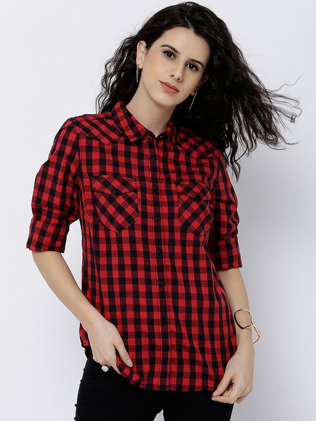 womens checked shirts sale
