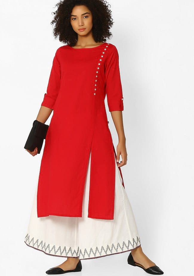 red & white party wear palazzo suits