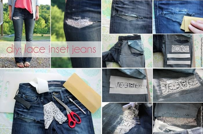 what to do with lace fabric, diy jeans lace embellishment
