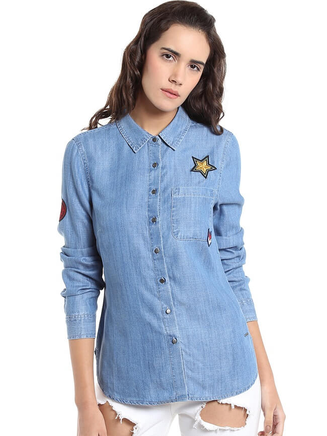 denim shirts for womens online india