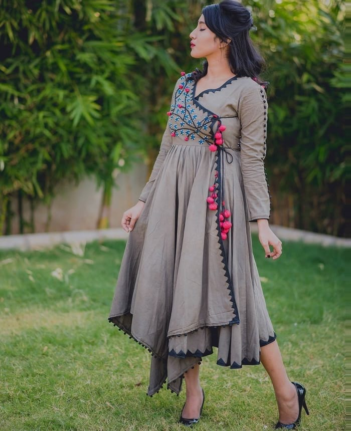 brown embroidered angrakha style kurti