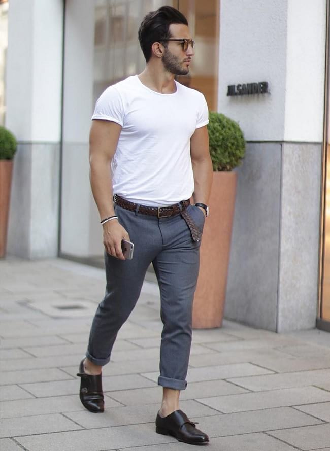white tees style ideas for men, street style store for men's clothing