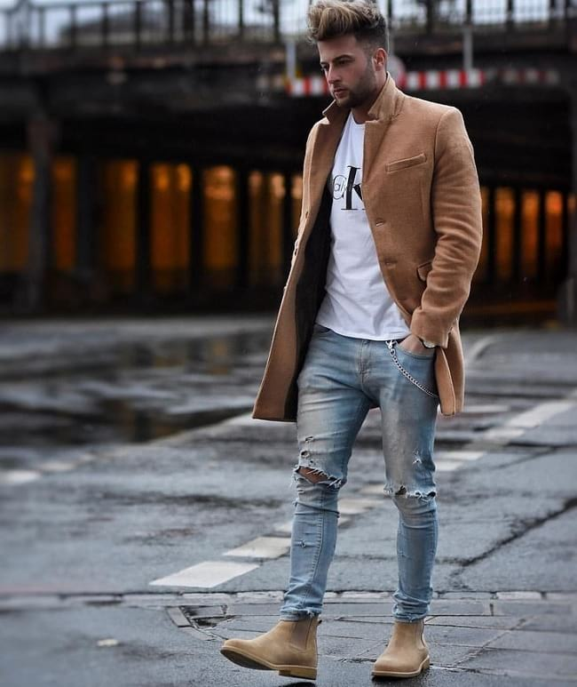 white t-shirt and blue jeans combination outfit mens, men's business casual fashion