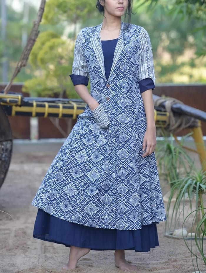 cotton long kurtis with pocket online