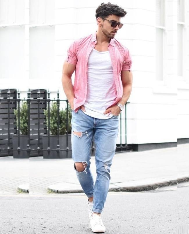 white tees outfit ideas & tips, men casual half sleeve shirt look, classy casual outfits for guys