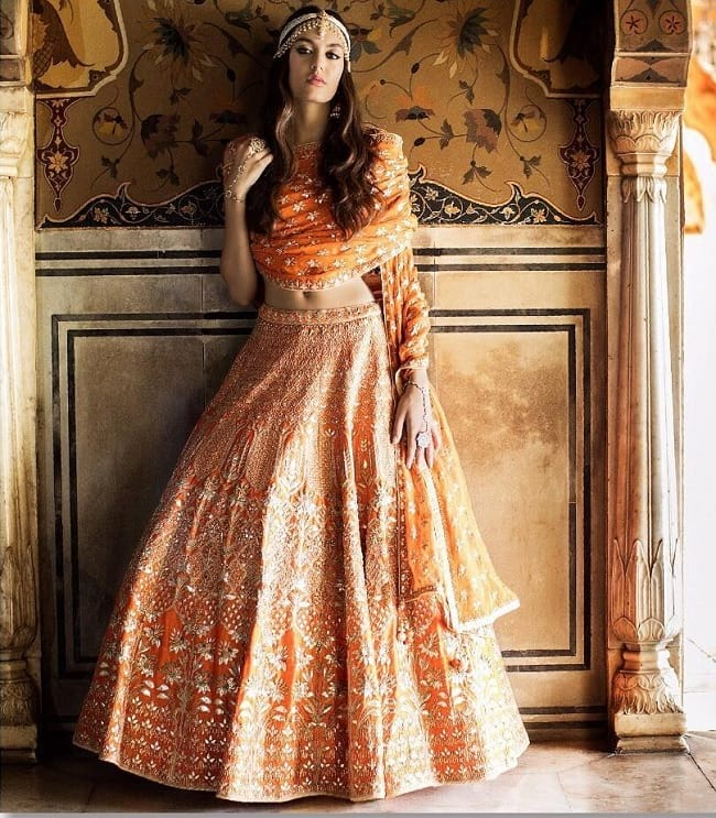 Anita Dongre Orange Embroidered Lehenga