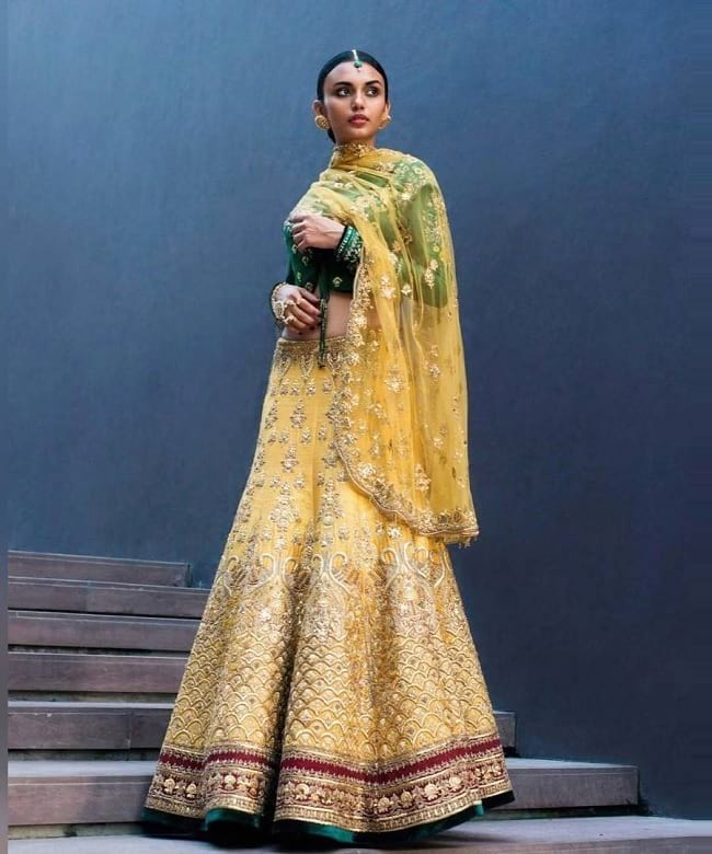 Yellow Bridal Lehenga With Heavy Golden Embroidered