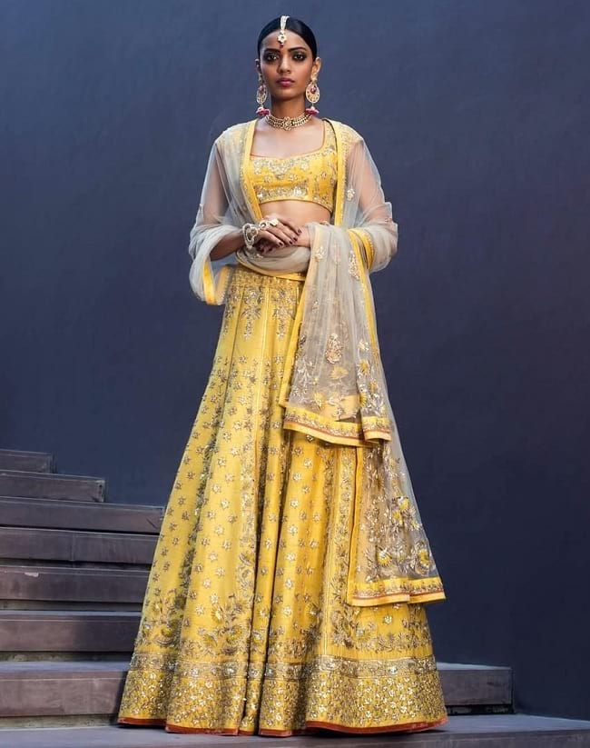Yellow & Golden Look Designer Wedding Lehenga