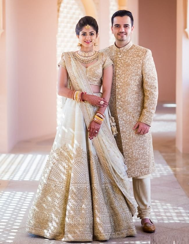 Off-White Embroidered Lehenga Online With Price