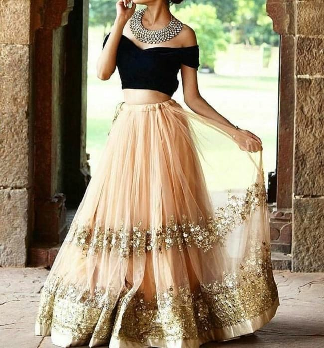 Black & Peach Combination indian wedding lehenga choli