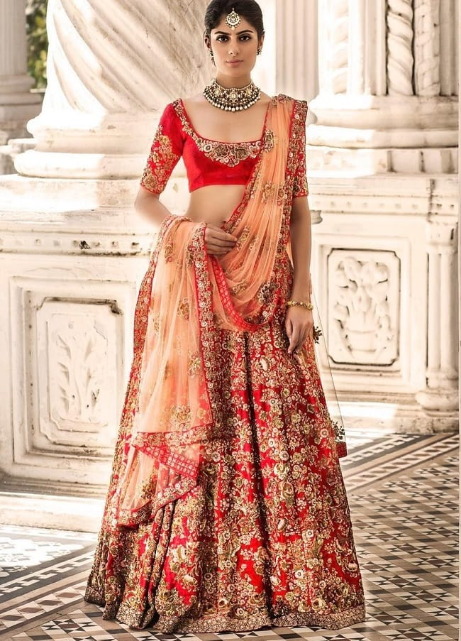 Designer Wedding Embroidered Lehenga Cholie Online