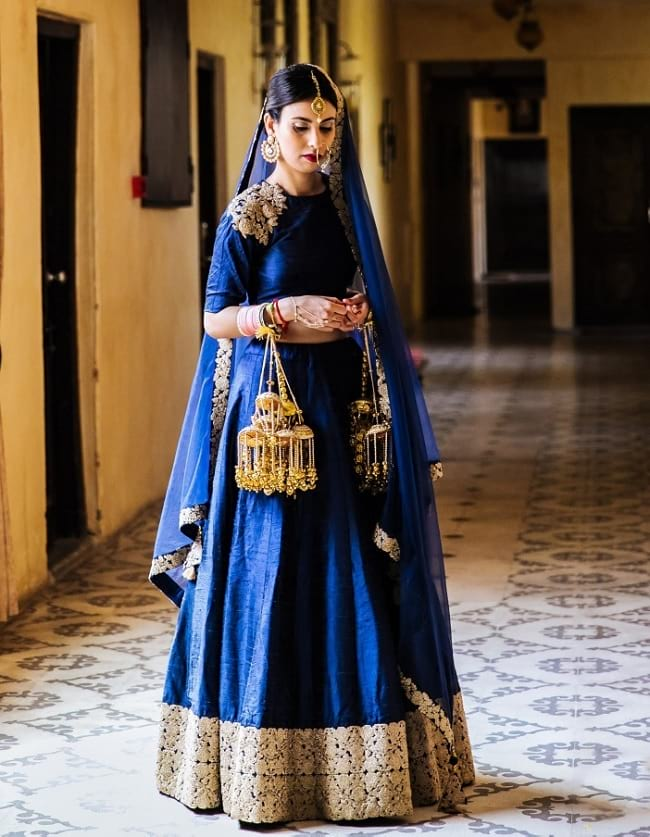 Simple Blue Lehenga Choli Online Shopping