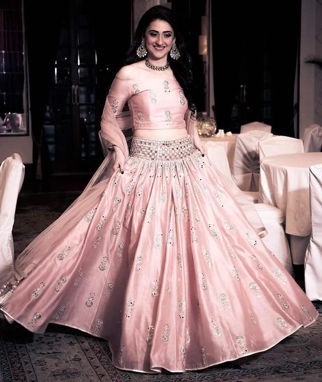 Light Pink Mirror Work Bridal Lehenga Design