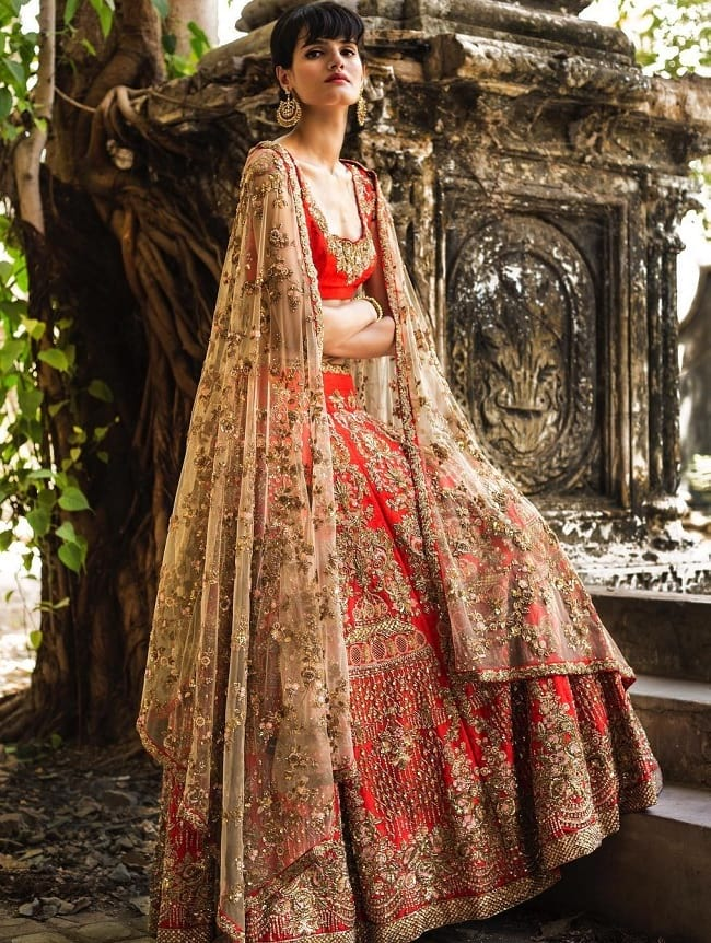 Red Embroidered Marriage Lehenga Online