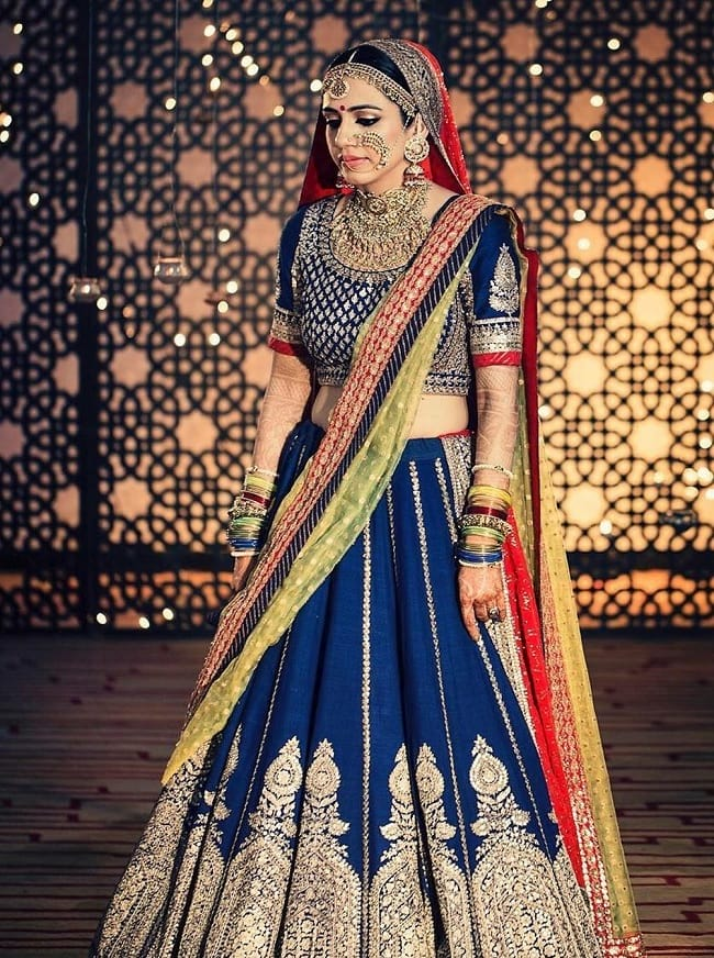 Navy Blue Wedding Kalidar Lehenga Choli Online