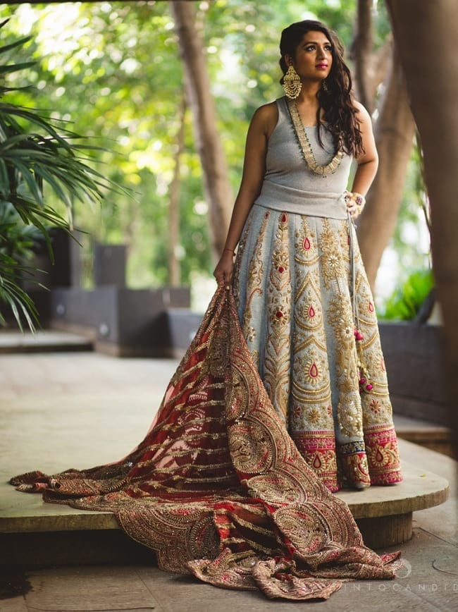 Gray Heavy Embroidered Lehenga With Simple Solid tees Style Choli