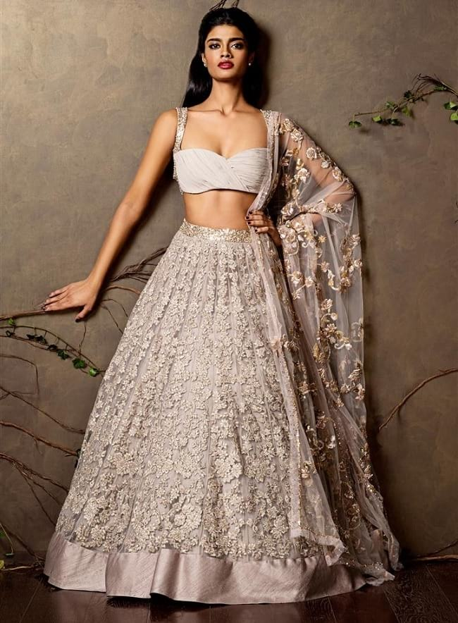 Gray Self Embroidered Designer Net Lehenga