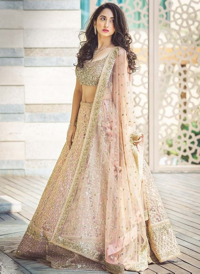 Dusty Pink Net Designer Lehenga Choli For Bridal
