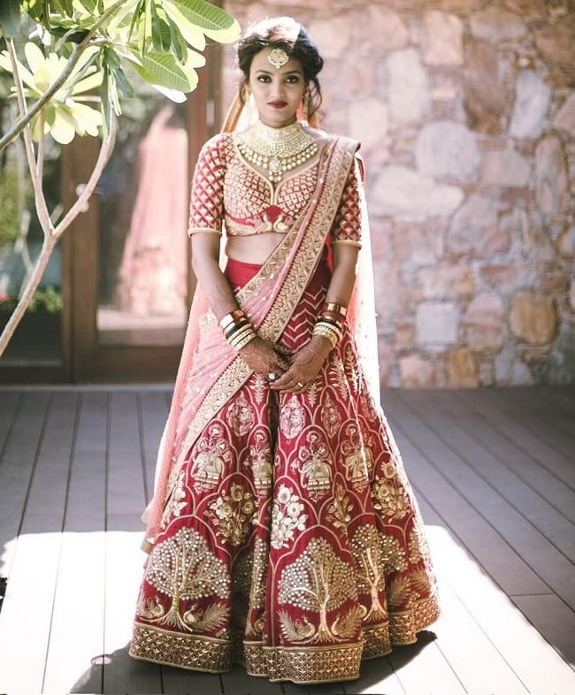 Red & Beige Bridal Lehenga With Heavy Embroidered Look