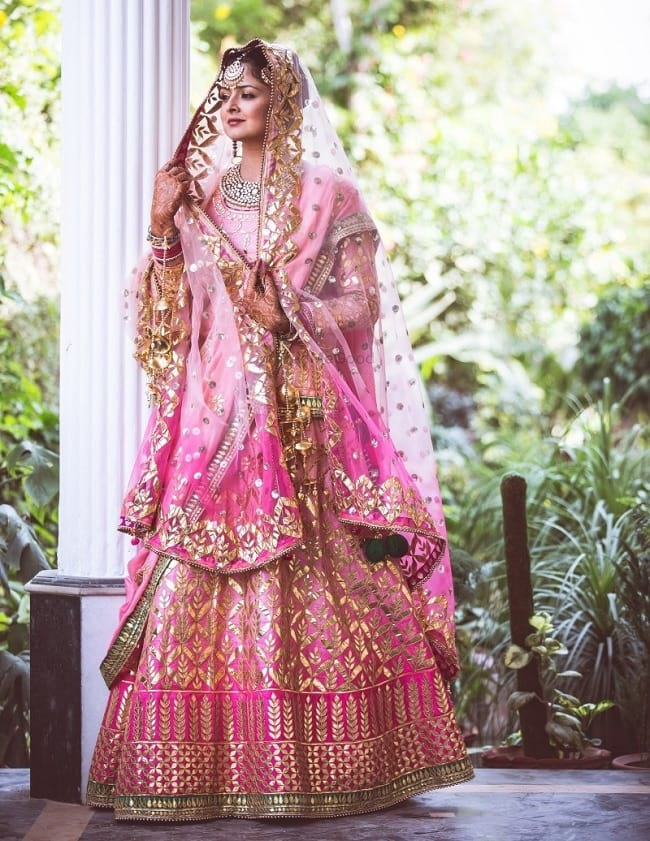 Pink & Golden Embellished Bridal Lehenga Collection