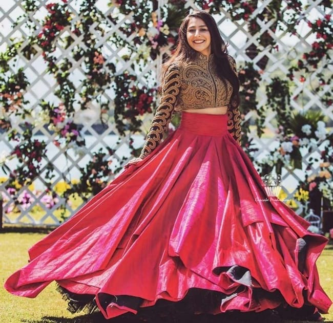 Indian Bridal Pink Plain Lehenga Image