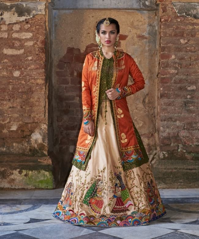 Cream & Orange Jacket Style Modern Lehenga Choli