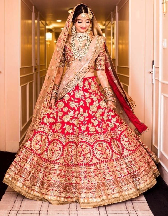Red New Age Patterns And Designs Lehengas