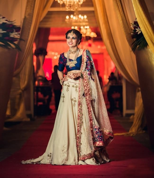 Blue & Beige Stylist & Simple Embroidered Bridal Lehenga