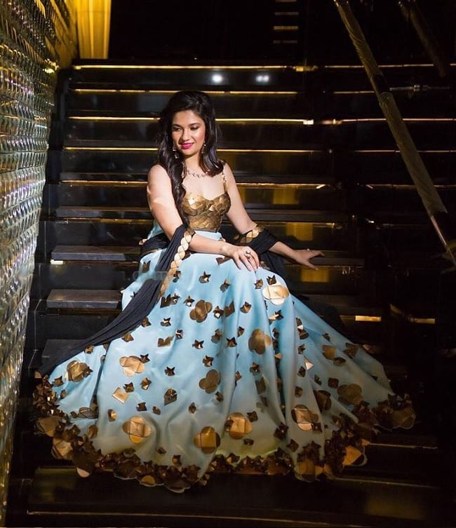 Golden Patch Work Traditional And Contemporary Lehengas