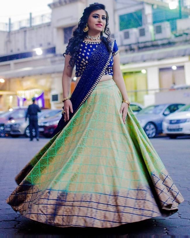 Green Tradition And International Style Lehengas
