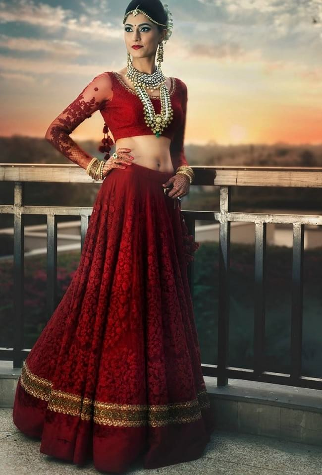 Maroon Sophisticated Look With This Bridal Lehengas