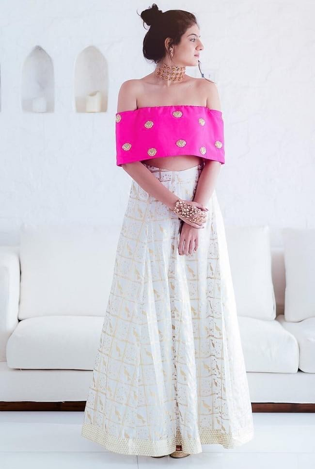 White & Pink Combination With Foil Printed Wedding Lehenga