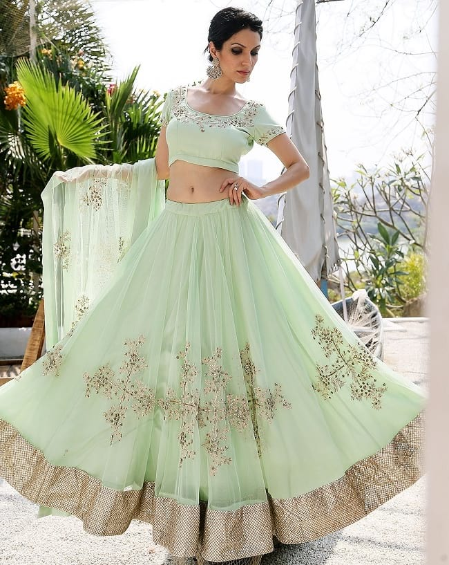 Simple Light Mint Green Color Wedding Lehenga Design