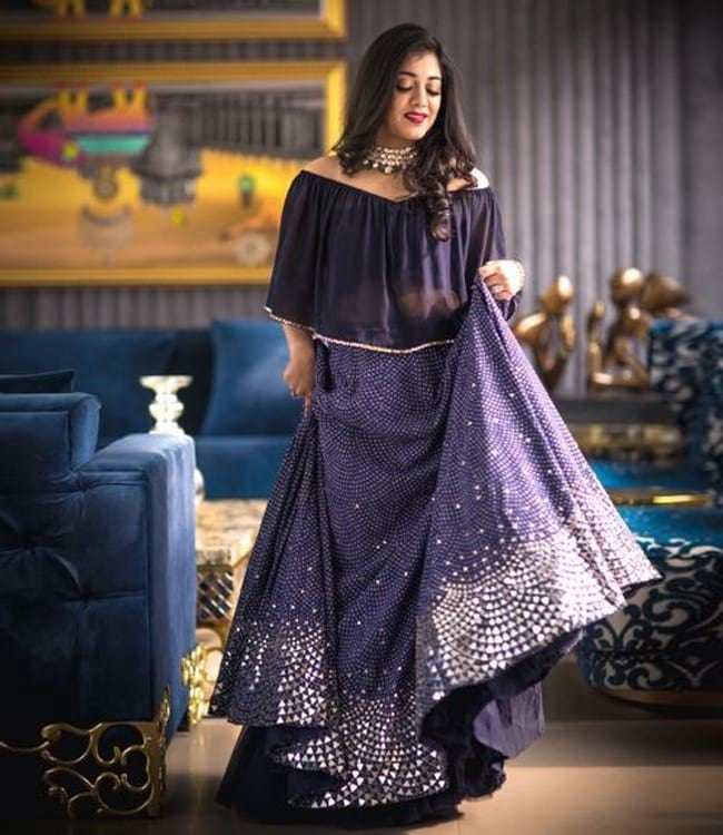 Blue Georgette All Over Mirror Work New Age Patterns And Designs Western Lehengas
