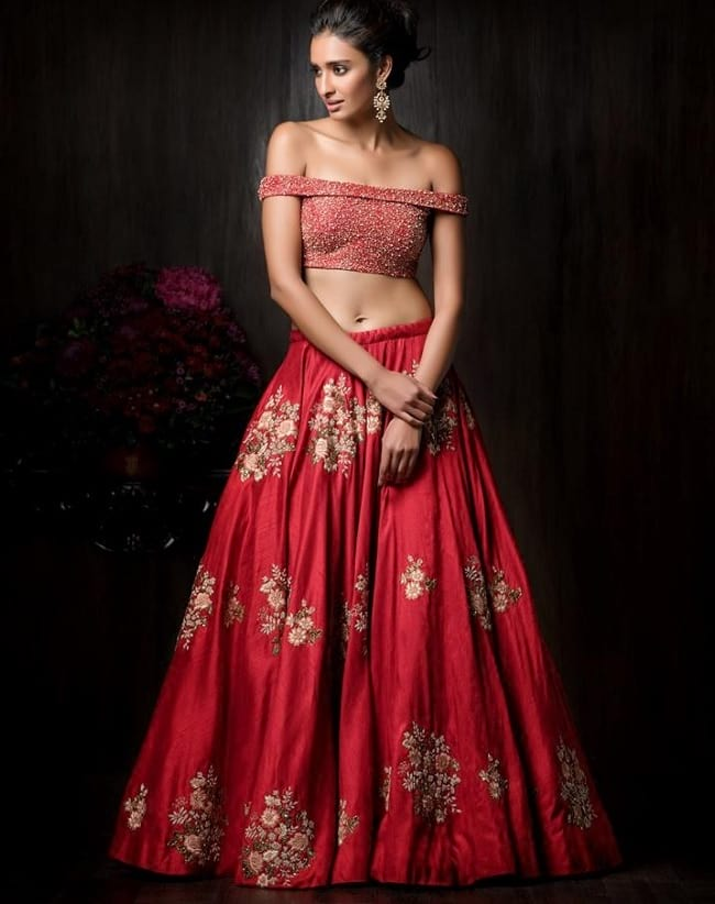 Red Georgette Embroidered Light Weight Cocktail Function Lehenga Choli