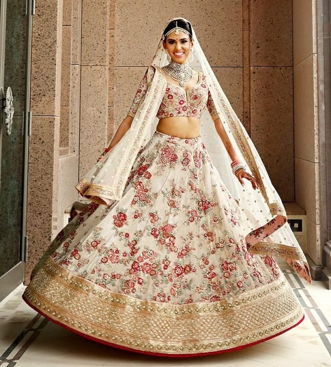 Cream Net Flower Embroidered & Lace Work honored Combination For Look Perfect Bridal Lehengas